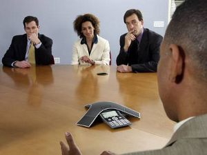 Click for large view of a Polycom SoundStation IP 7000 Conference Room Installation Business Meeting.